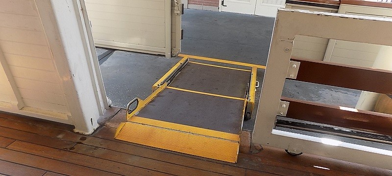 Photo of ramp access to riverboat.