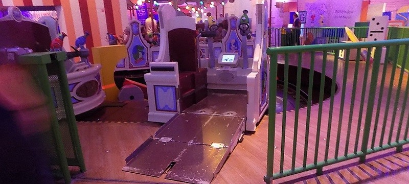Photo of ramped access to Toy Story ride.