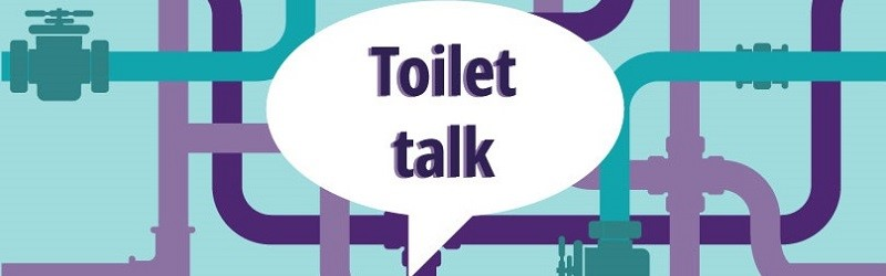 "Illustration of water pipes and a speech bubble saying ""toilet talk""."