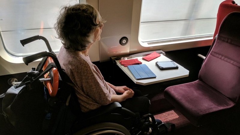 Photo of Susan on board the Thalys Express.