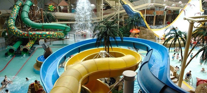 Photo of pool slides at Sandcastle Water Park.