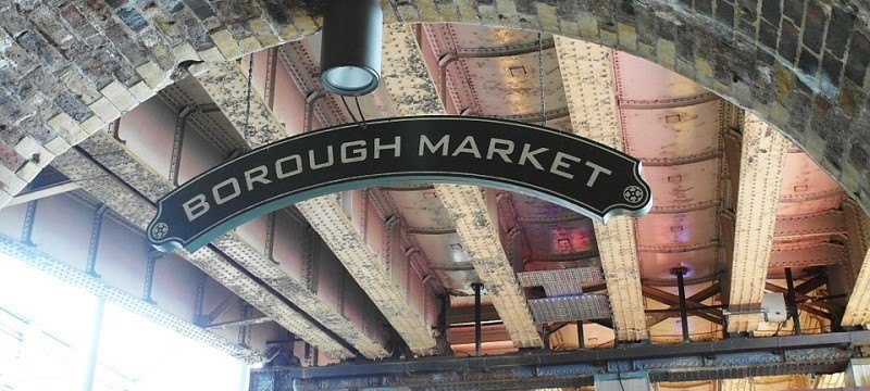 A picture of the Borough Market sign.