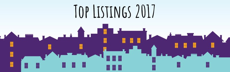 "Illustration of buildings saying ""Top Listings 2017""."