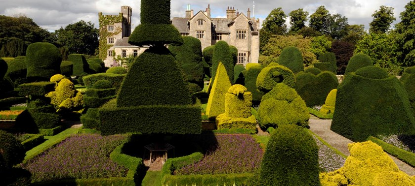 Photo of the topiary garden at Leven Hall and Gardens.