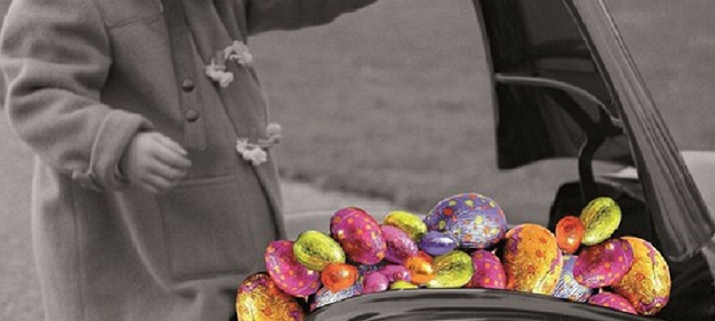 Photo of Easter eggs in the bonnet of a car.