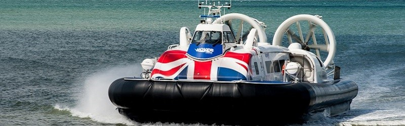 Photo of a Hovertravel hovercraft.