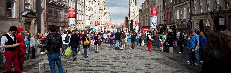 Photo of performers at the Fringe in Central Edinburgh.