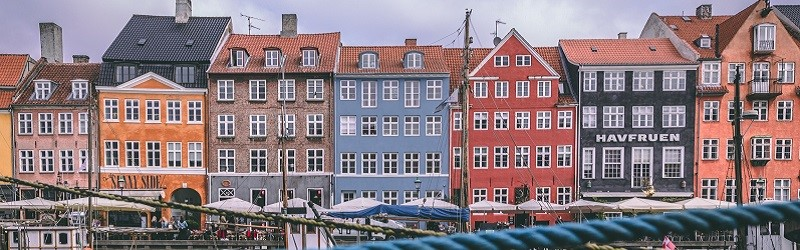 Photo of colourful buildings in Copenhagen.
