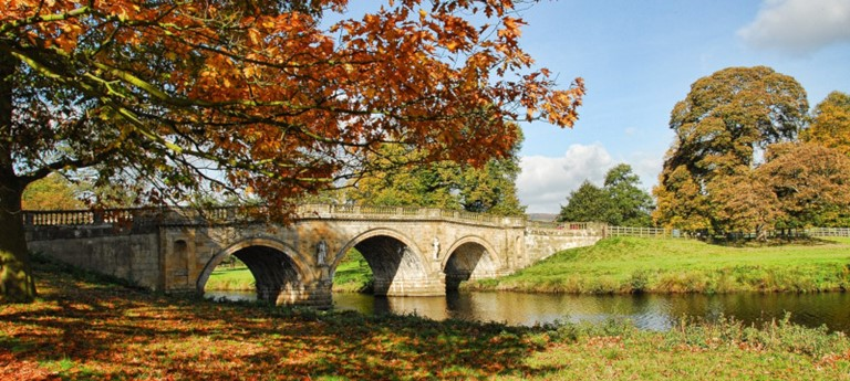 Photo of Chatsworth House gardens in autumn.