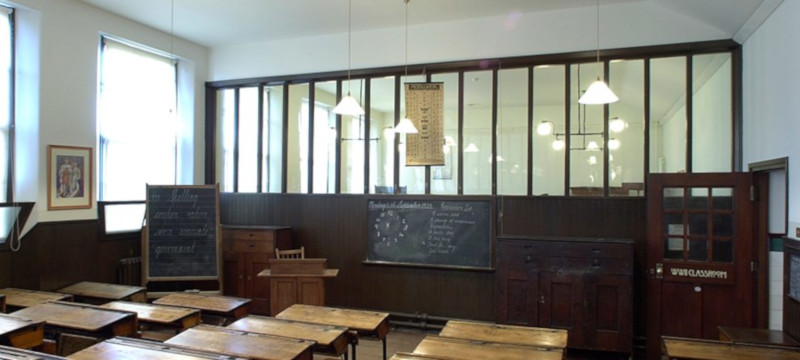 Photo of a classroom at Scotland Street School Museum.