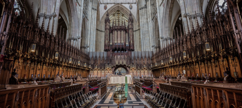 Photo of York Minster showing the Grand Organ.