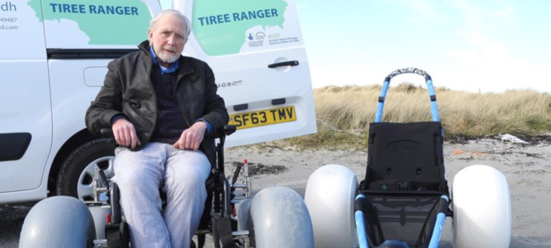 Photo of a man using a Tiree Ranger wheelchair.