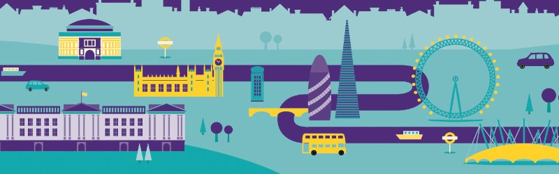 Artwork showing London landmarks.