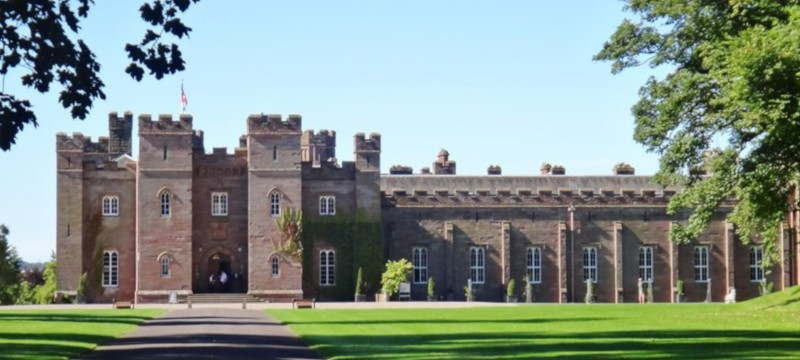Photo of Scone Palace from the outside.
