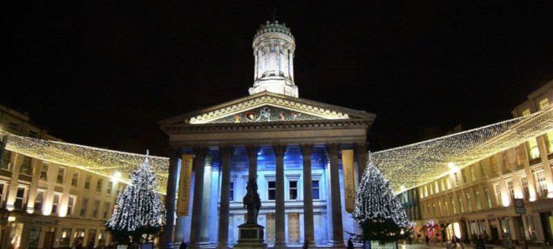 Photo of Glasgow's Gallery of Modern Art at night.