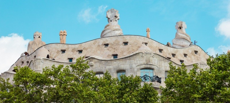 View of Casa Mila, a building designed by Antoni Gaudi.