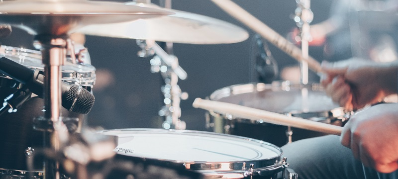 Photo of a drum kit.