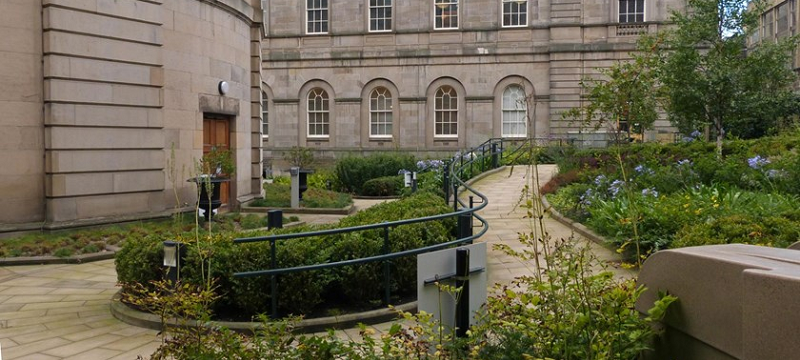 Photo of a wheelchair-accessible sloped path through the Archivists Garden, Edinburgh.