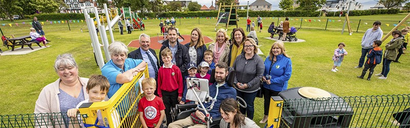 Photo of Euan opening Lundin Links Play Park.