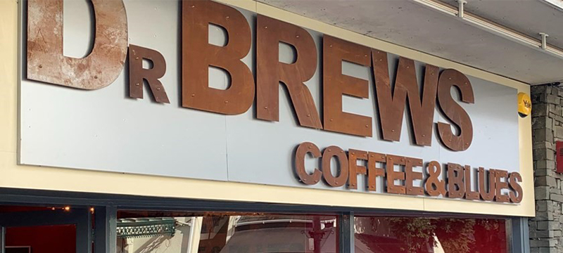 Photo of Dr Brews Coffee and Blue sign, Bowness-on-Windermere.