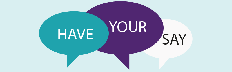 "Image of speech bubbles with text saying ""have your say"""
