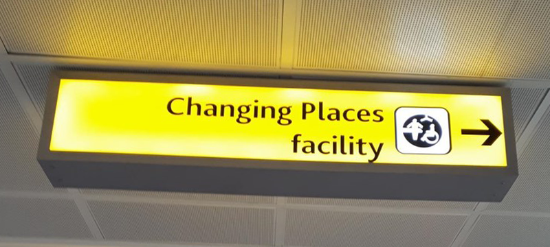 Signage for the Changing Places facility at Glasgow Airport