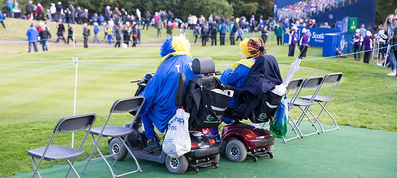 Photo of spectators at an accessible viewing area at the Solheim Cup © VisitScotland/Kenny Lam.