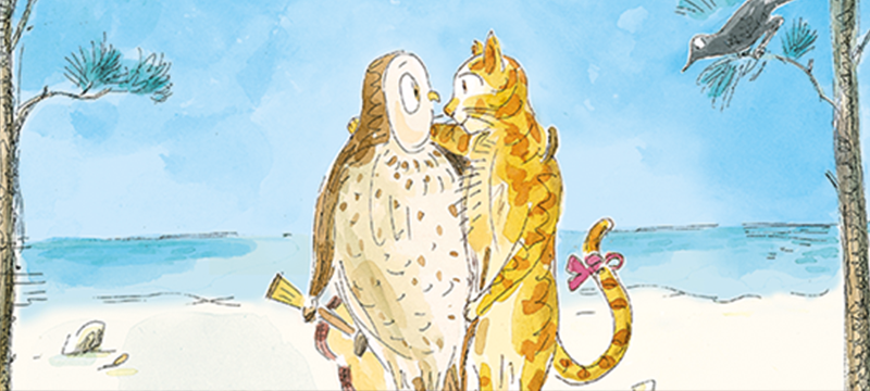 Drawing of an owl and a cat on a beach