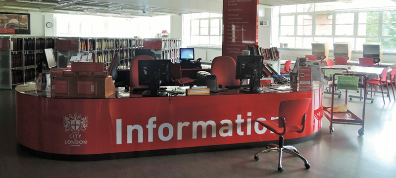 Image of the information desk at London Metropolitan Archives