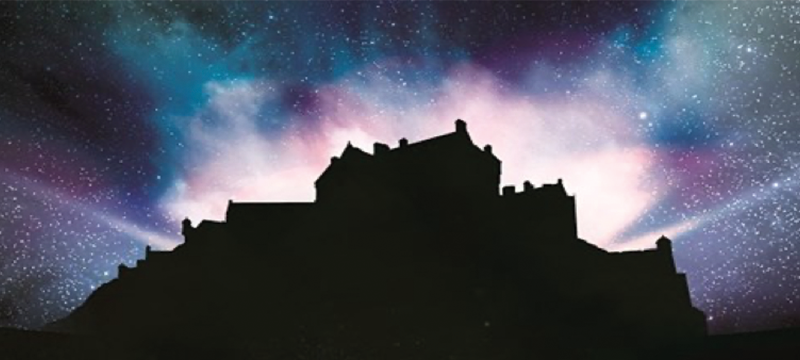 Image of Edinburgh Castle silhouette with colourful sky