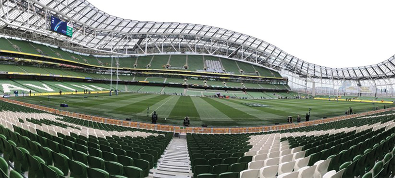 View of Aviva Stadium's pitch from the accessible viewing area.