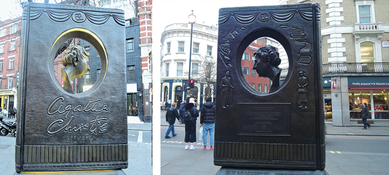 TThe front and back of the Agatha Christie memorial