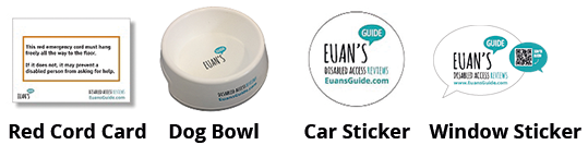 Image showing the resources venues can order from Euan's Guide. Pictured from left to right: Red Cord Card, Dog Bowl, Car Sticker, Window Sticker