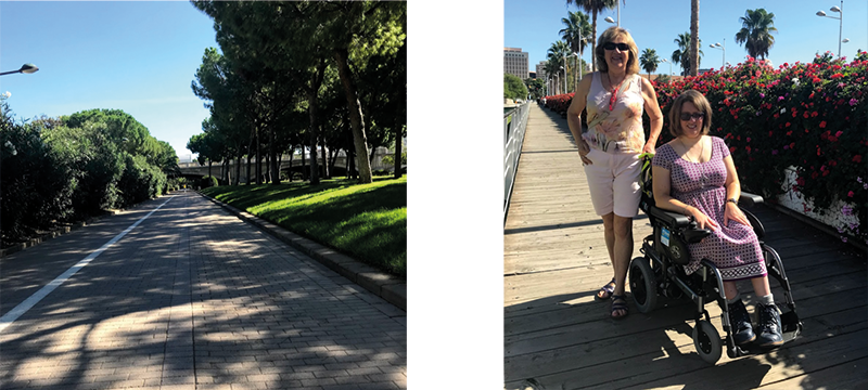 Image of the Turia river bed and an image of my mum and I walking in the river Turia