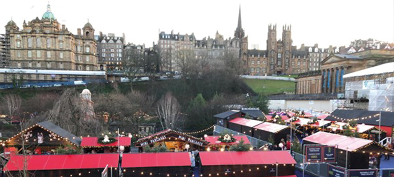 View of Edinburgh Christmas Markets from Princes Street