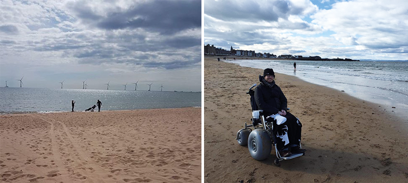 Image of people using beach wheelchairs.
