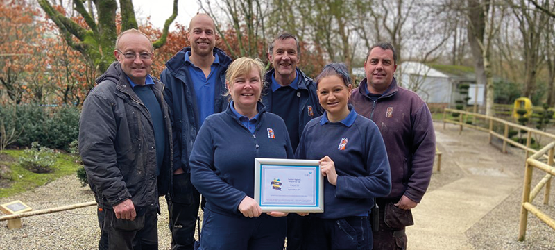 Image of the Newquay Zoo team with their award