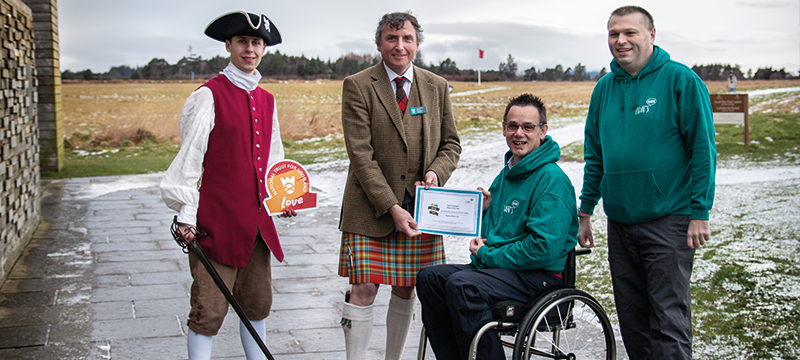 Image of Paul and Ian presenting Culloden Battlefield with their award