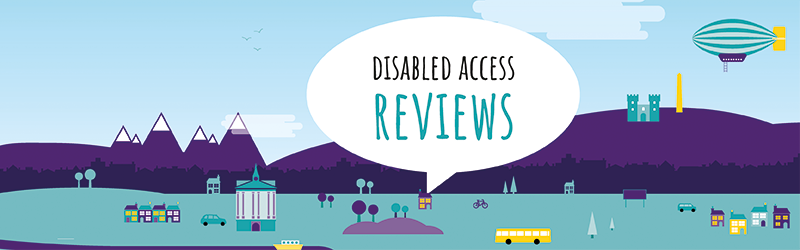 Image of a city with Disabled Access Reviews written in a large speech bubble