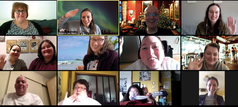 Image of Euan's Guide Ambassadors and team members on a video call.
