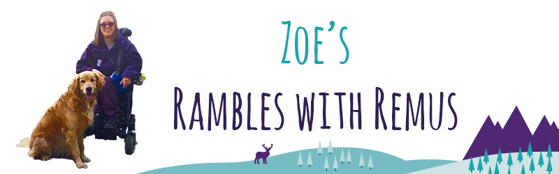"Image of Zoe with her assistant dog Remus, next to her is the animated text that reads: ""Zoe's Rambles with Remus."""