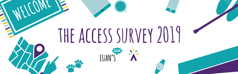 The Access Survey 2019 logo is in purple with the Euan's Guide and Disabled Access Day logo underneath.