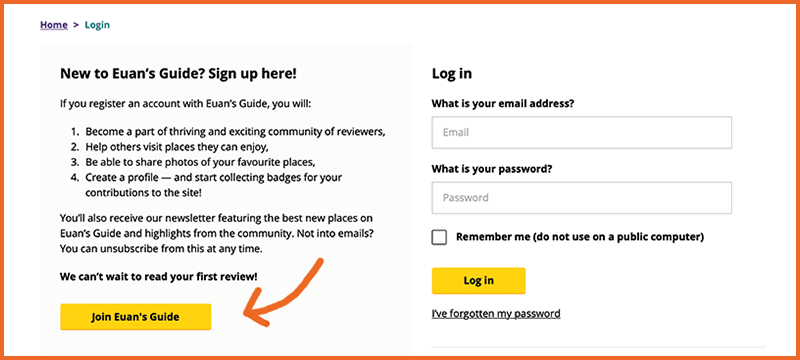 Image showing the login webpage with an arrow showing where to click to create a new account.