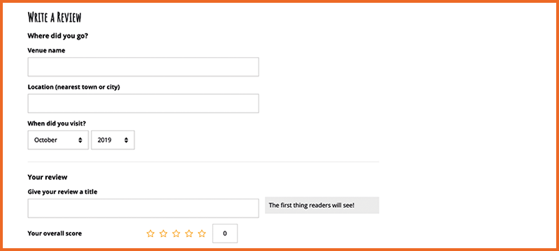 Image of the online review form.