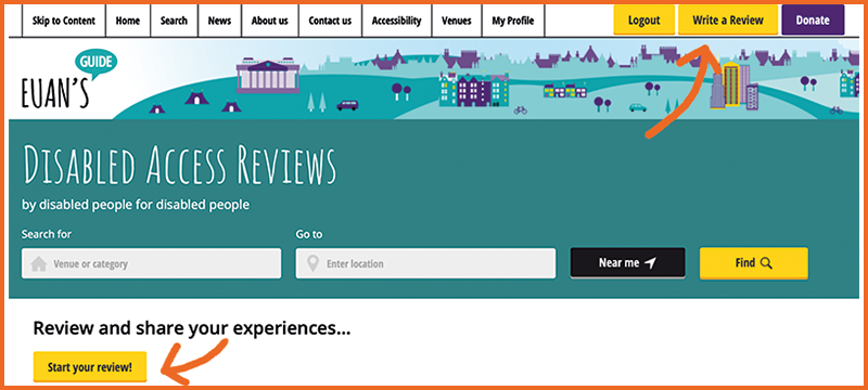 Image of the Euan's Guide homepage with arrows showing two places you can click to start a new review.