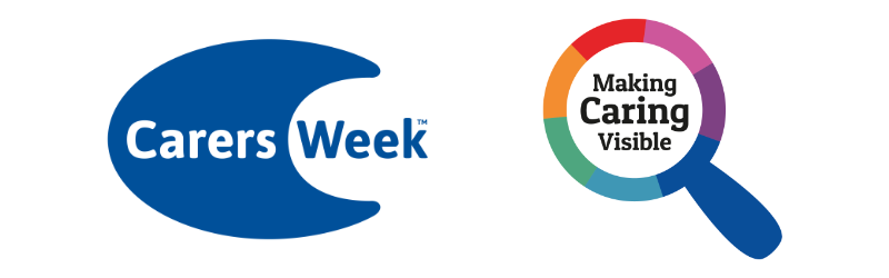 Carers Week logo and the Making Carers Visible icon