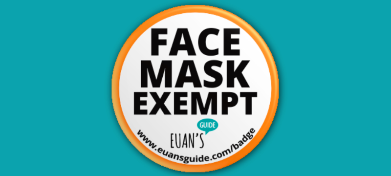 Image illustrating what the Face Mask Exempt badge looks like against a teal background.