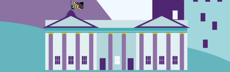 Euan's Guide graphic of a large museum style building. The Disability Pride Flag is waving on a pole on top of the building.