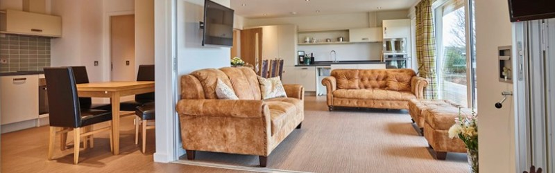 Open plan kitchen living area at The Rings in Fife