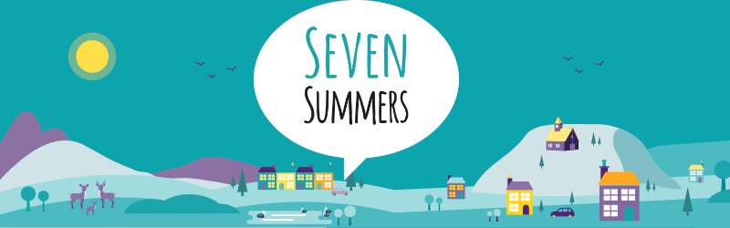 "Generic town graphic with a large speech bubble. Text in the speech bubble reads ""seven summers""."